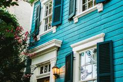 blue house in DC's Georgetown